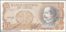 TWN - CHILE 143b - 10 Escudos 1976 Serie A 22 - Signatures: Cano & Molina UNC - Cile