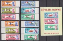 Togo 02.12.1967 Mi # 626-31 AВ Bl 32 1968 Grenoble Winter & Mexico Summer Olympics, MNH OG MARGINS - Summer 1968: Mexico City