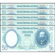 TWN - CHILE 151b2 - 50 Escudos 1981 DEALERS LOT X 5 - Serie B 19 - Signatures: De La Cuadra & Molina UNC - Cile