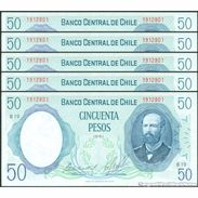 TWN - CHILE 151b2 - 50 Escudos 1981 DEALERS LOT X 5 - Serie B 19 - Signatures: De La Cuadra & Molina UNC - Chili