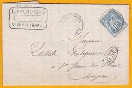 1893 -  LAC Du Vigan Vers St Jean Du Bruel, Aveyron, Boite Mobile BM - Cad Arrivée - 1876-1898 Sage (Type II)