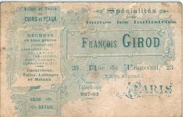 PARIS CUIRS ET PEAUX GIROD Rue Du Transvaal - Cartes De Visite