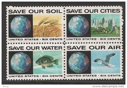 1970 6 Cents Anti-Pollution Block Of 4 Mint Never Hinged - Stati Uniti