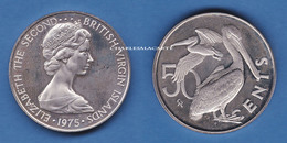 BRITISH VIRGIN ISLANDS 1975  PROOF 50 CENTS  BIRDS PELICANS  SUPERB CONDITION - Islas Vírgenes Británicas