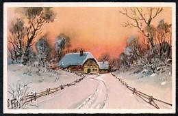 A8065 - Alte Glückwunschkarte - Künstlerkarte - Winterlandschaft Aquarell ?? - SBZ Lunzenau 1946 TOP - Künstlerkarten