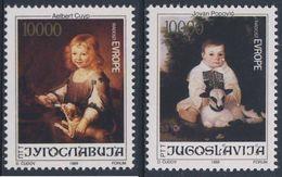 """Jugoslavija Yugoslavia 1989 Mi 2376/7 YT 2250 /1 ** """"Girl Feeding Dog"""" A. Cuyp + """"Girl With Lamb"""" J. Popovic - 1945-1992 Socialist Federal Republic Of Yugoslavia"""