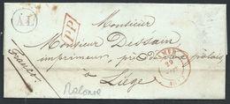 L Du Père Supérieur Càd NAMUR/1847 + PP + Boîte Rurale AL Du Pensionnat De Malonne Pour Liège - 1830-1849 (Belgique Indépendante)