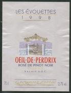 Rare // Etiquette // Les Evouettes, Oeil De Perdrix, Grognuz Frères,Villeneuve, Vaud, Suisse - Etiquettes