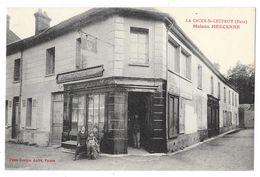 Cpa: 27 LA CROIX SAINT LEUFROY (ar. Les Andelys) Maison MERCENNE (animée, Café, Théatre) - Frankrijk