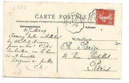 AMBULANT DE TROYES A CHALONS DU 21/7/1909 - Poststempel (Briefe)