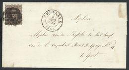 L  Affr 10c Brun P135 ZELZAETE/1863 Pour Gand - 1863-1864 Médaillons (13/16)