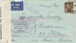 South Africa 1943 Andalusia Internment Camp To Wife In Tanganyika Censored Cover - Kenya, Uganda & Tanganyika