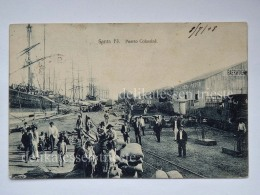 ARGENTINA SANTA FE' Puerto Colastiné Ship Train Old Postcard - Argentina