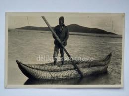 BOLIVIA LAGO TITICACA  Fisherman Boat Old Postcard  Indios - Bolivia