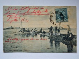 PERU' PUNO LAGO TITICACA  Embarcaciones Fisherman Boat Old Postcard - Perù
