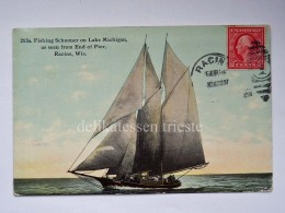 USA RACINE LAKE MICHIGAN Fishing Schooner Boat Ship Old Postcard - Racine