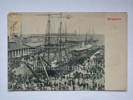SINGAPORE Ship Boat Construction Old Postcard - Singapore