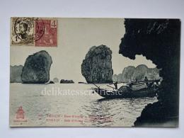 VIETNAM INDOCINA INDOCHINE FRANCE TONKIN Baie D'Along Rada Del Rospo Boat Fisherman Old Postcard - Vietnam