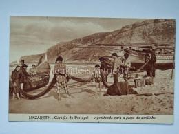 PORTOGALLO PORTUGAL NAZARE' Boat Caracao Pesca Sardinha Fisherman AK Old Postcard - Leiria