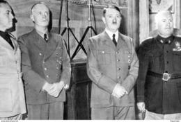 Militaria WW2 -   Le Comte Ciano, Von Ribbentrop, Hitler Et Mussolini à Florence Le 28.10.1940 - 1939-45