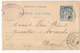 BRECEY Manche Sur DEVANT De Carte Lettre Au Type SAGE.  V.RIVIERE Meubles Et Batiments. - Enteros Postales