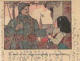 """REPIQUAGE """"Un Verre De Bon Vin D'Alsace à Un Grand Ami"""". SEMUR EN AUXOIS Cote D'Or Sur 25C SEMEUSE. 1922. - Cartes De Franchise Militaire"""
