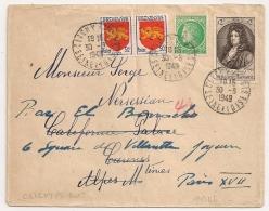 TARIF 15F, Bel Affranchissement Composé,  CLICHY S BOIS Seine Et Oise. 1949 - Marcophilie (Lettres)