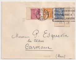 TARIF 6F, NIMES - GARE Gard, TRES  Bel Affranchissement Composé. GANDON Coin Daté 22-1-47. - Marcophilie (Lettres)
