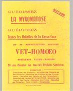 Buvard VET-HOMOEO Guérissez La Myxomatose Et Toutes Les Maladies De La Basse-Cour Avec Les Poudres VET-HOMOEO - Farm