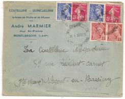 TARIF 0F90, Horoplan MONFLANQUIN Lot Et Garonne. BEL AFFRANCHISSEMENT. 1939. DAGUIN NOGENT EN BASSIGNY à L'arrivée. - Marcophilie (Lettres)
