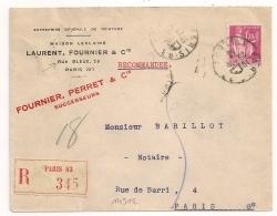 PAIX 1F75, Horoplan PARIS 83 RUE BLEUE Sur Enveloppe Recommandée. - Marcophilie (Lettres)