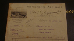 1 FACTURE  ETABL G. BARRAULT  LOEUILLY SOMME - Agriculture