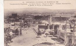 Cp , 13 , MARSEILLE , Exposition Coloniale De 1922 , Vue Générale De L'Esplanade - Expositions Coloniales 1906 - 1922