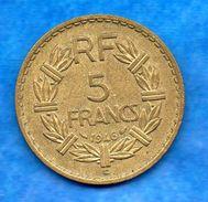France- 5 Frs  Lavrillier - 1946 C   En  Cupro-aluminium - Cat Gadoury N° 761a     Bon état    Voir Scan - J. 5 Francs