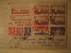 Lettre Première Liaison Marseille New York 1939 YT 425 YT 430 YT 426 - Marcophilie (Lettres)