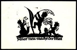 A8094 - Alte Glückwunschkarte - Scherenschnitt Silhouette - A. M. Schwindt - Hessischer Heimat Verlag - Gel 1939 - Silhouettes