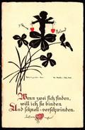 A8095 - Alte Glückwunschkarte - Scherenschnitt Silhouette - Handgeschnitten Schubert Nr 1669 - Silhouettes