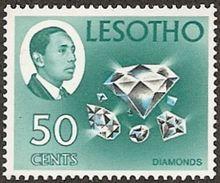 Lesotho,  Scott 2017 # 34,  Issued 1967,  Single,  NH,  Cat $ 5.00,  Diamonds - Lesotho (1966-...)
