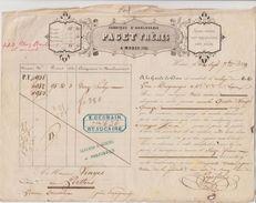 1849 Fabrique Horlogerie Paget Frères à Muret (39) Roulage A La Garde De Dieu 12 Horloges Pour Le Perthus Fiscal Dos - Transports