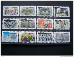 OBLITERE ANNEE 2013 N°877/988 SERIE COMPLETE 12 VALEURS CARNET ART GOTHIQUE II N°2 AUTOCOLLANT ADHESIF - France