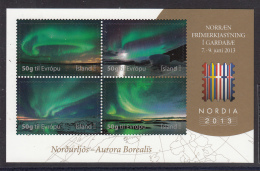 Iceland 2013 MNH Souvenir Sheet Of 4 Aurora Borealis NORDIA 2013 - Nuevos
