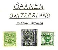 SWITZERLAND, Saanen, */o M/U, F/VF - Fiscaux