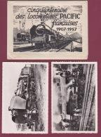 261017 - Enveloppe CINQUANTENAIRE DES LOCOMOTIVES PACIFIC Françaises 1907 1957 Avec 18 Cartes - Chemin De Fer Train SNCF - Trains