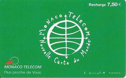 CARTE-PUBLIC-MONACO-CARTE RECHARCHE-7.5€-MF53d-VERTE 2-V°13 GD N°Lasers-TBE - Monaco