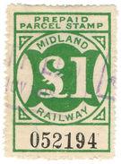 (I.B) Midland Railway : Prepaid Newspaper Parcel £1 - 1840-1901 (Victoria)