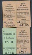 SWITZERLAND QY3877 4 Billet Fahrkarte Ticket DGV Kontrollmarke MS Rigi DS Gallia DS Pilatus & Taxzuschlag - Billets D'embarquement De Bateau