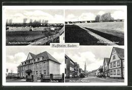AK Russheim / Baden, Reichsarbeitsdienstlager 5 / 274, Schule, Rathaus, Pfinz-Saalbach-Kanal - Baden-Baden