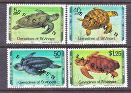"""ST. VINCENT  GRENADINES  157-60    **    """"SPECIMEN""""   TURTLES - St.Vincent (...-1979)"""