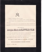 ALOST BRUXELLES Adolphe De CLIPPELE D'OLM 1814-1894 Doodsbrief - Esquela