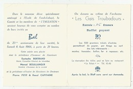 Grand Bal Du 25e Anniversaire De L'Emulation - Août 1966 - Schoelcher (Martinique) - Faire-part